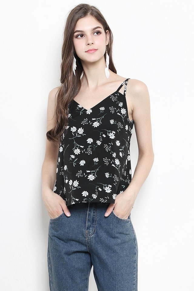 Enna Top Black Floral