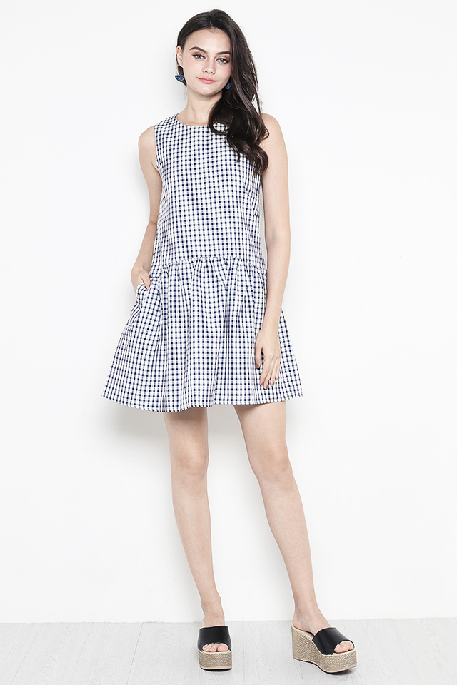 Bessie Dress Navy Gingham