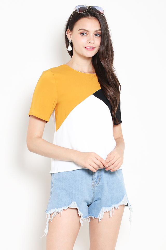 Lexie Colourblock Top Mustard/White