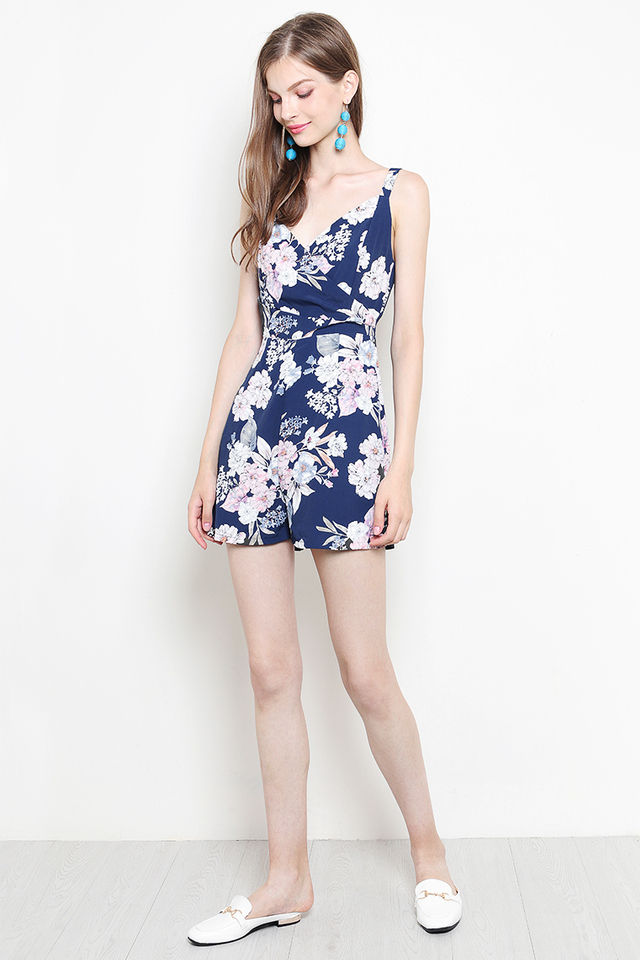 Xandra Playsuit Navy Floral
