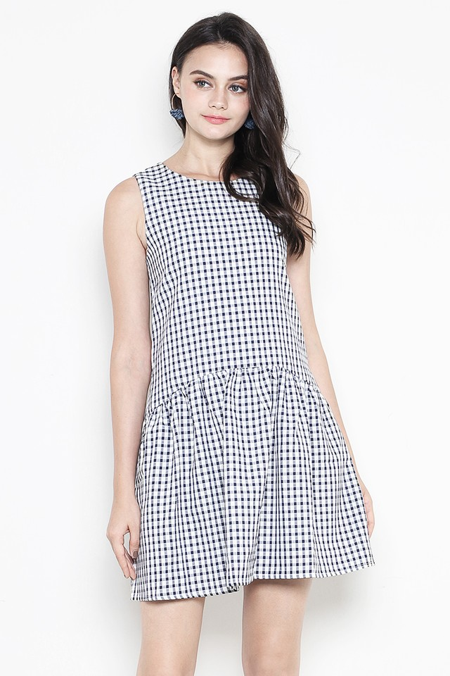 Bessie Dress Navy Gingham