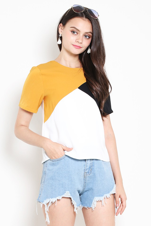 Lexie Colourblock Top Mustard/White