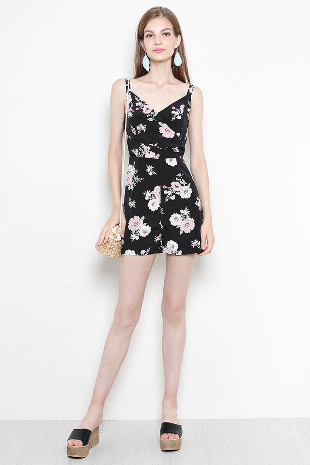 Xandra Playsuit Black Floral