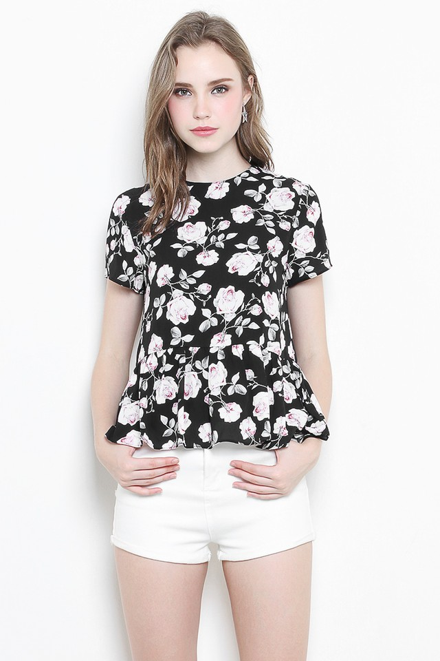Kasey Top Black Floral