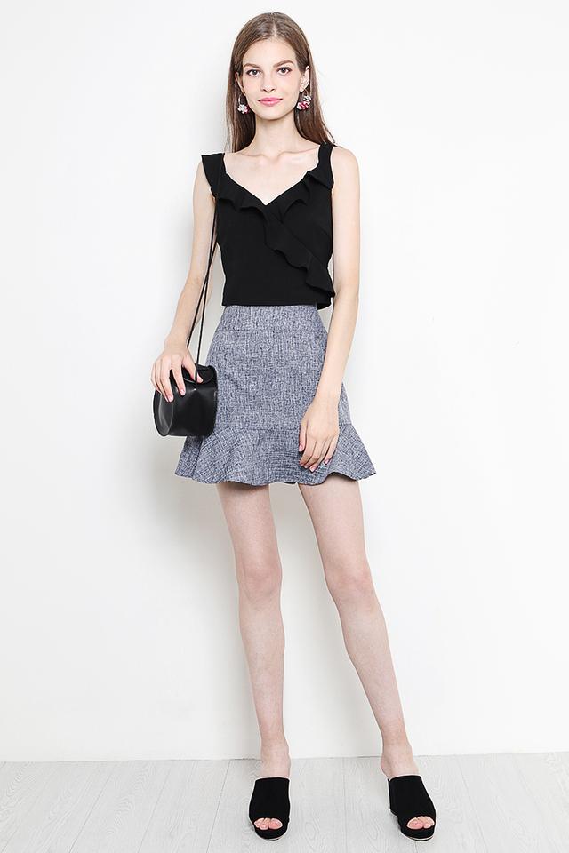 Verity Skirt Navy Tweed