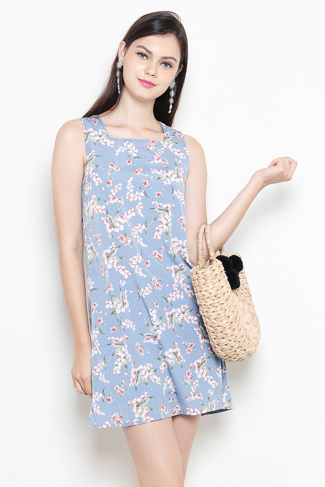 Bianca Dress Ash Blue Floral