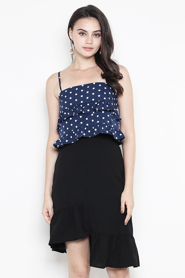 Tella Top Navy Polka