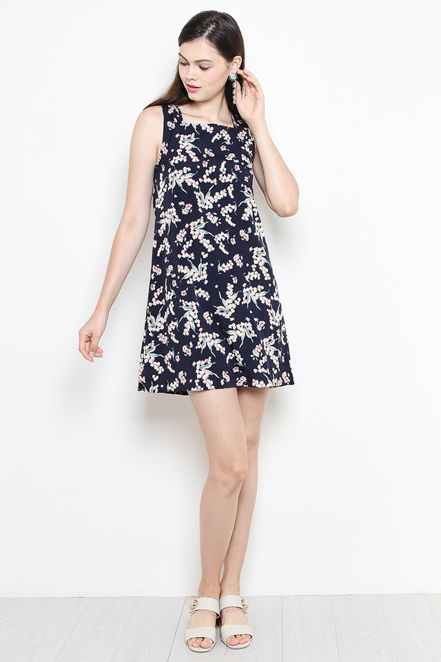 Bianca Dress Navy Floral