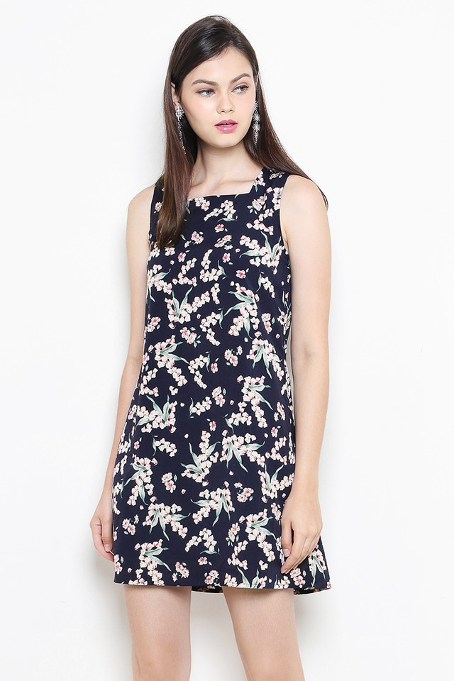 Bianca Dress Navy Floral