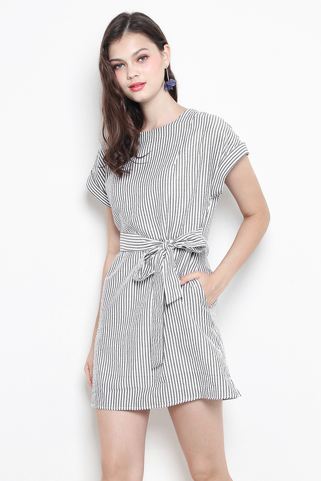 Shona Dress Grey Stripes