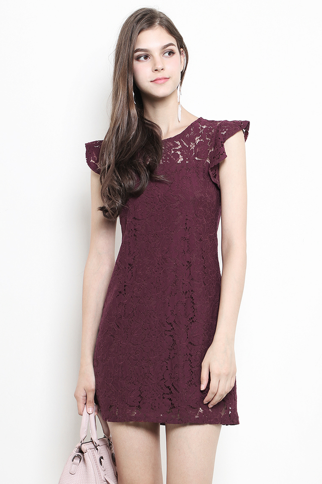Olwyn Lace Dress Maroon