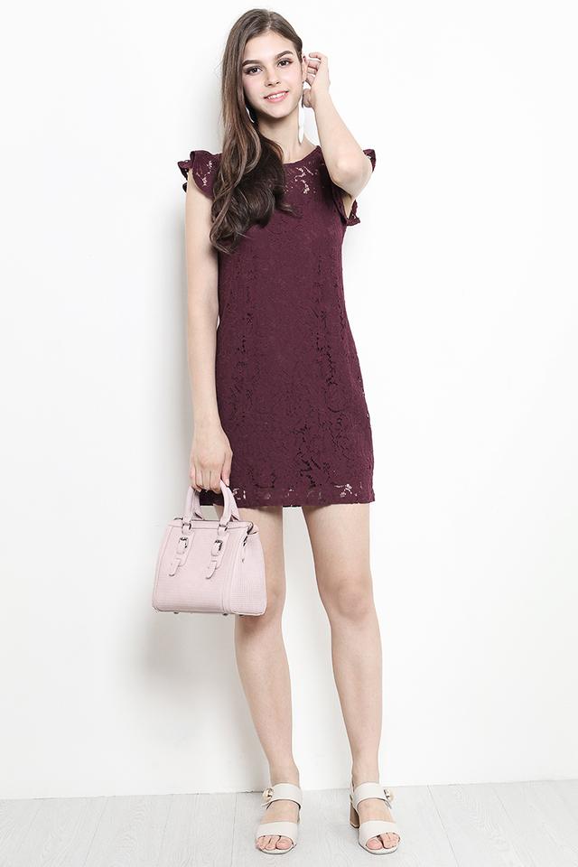 Olwyn Lace Dress Maroon