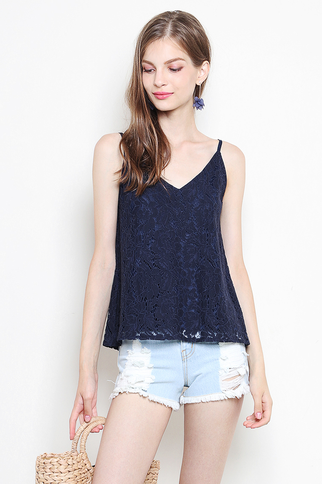 Laura Lace Top Navy