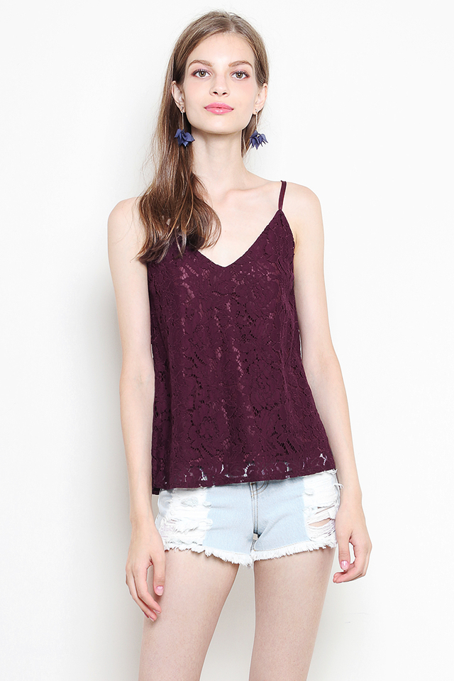 Laura Lace Top Burgundy
