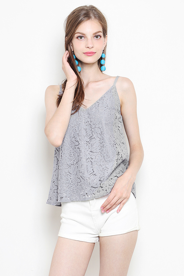 Laura Lace Top Grey