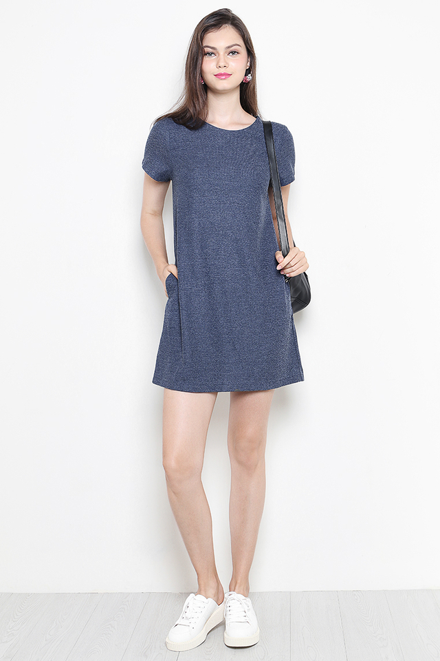 Verin Dress Navy Tweed
