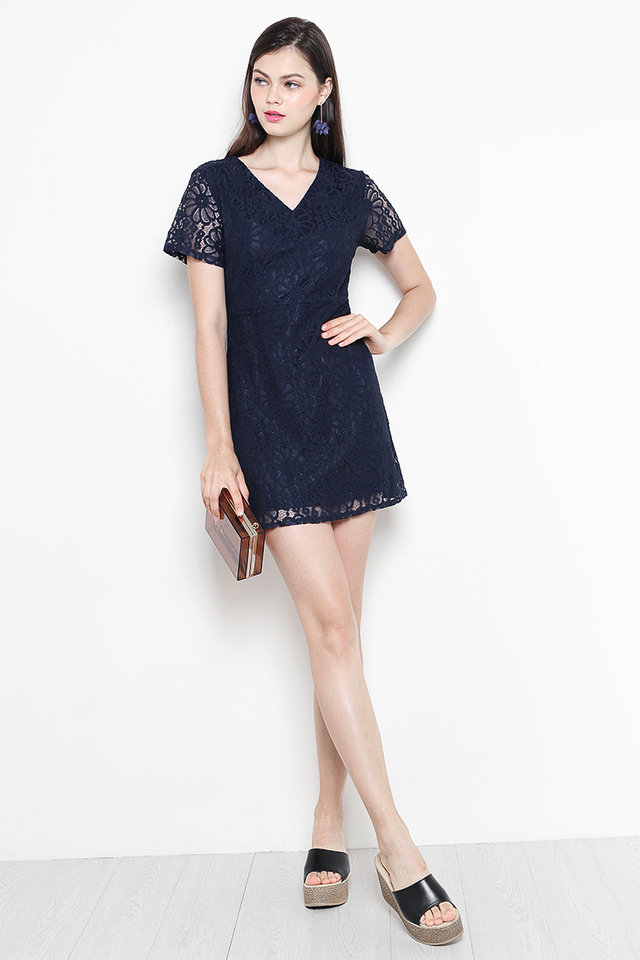 Anica Lace Dress Navy
