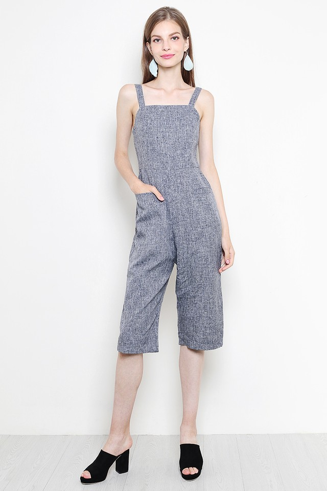 Jany Jumpsuit Navy Tweed