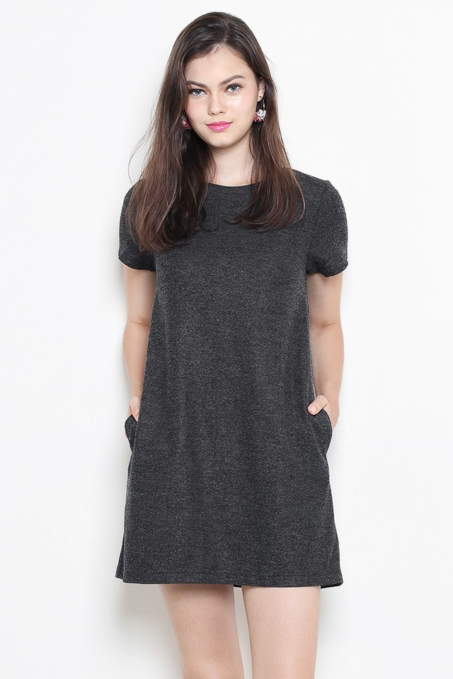 Verin Dress Black Tweed