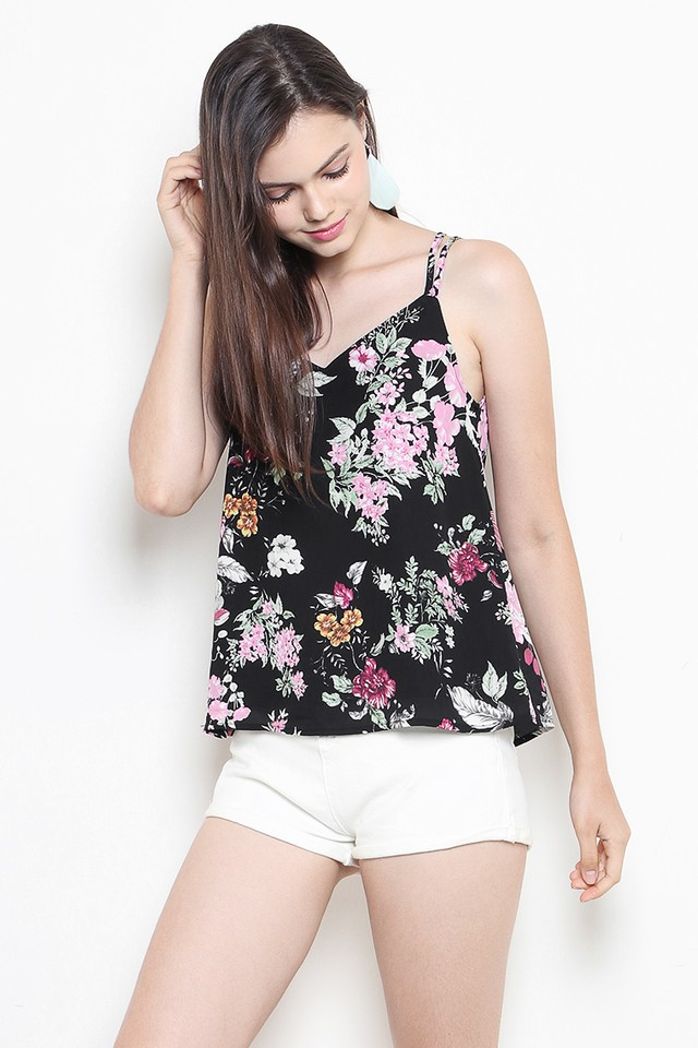 Ethel Top Black Floral