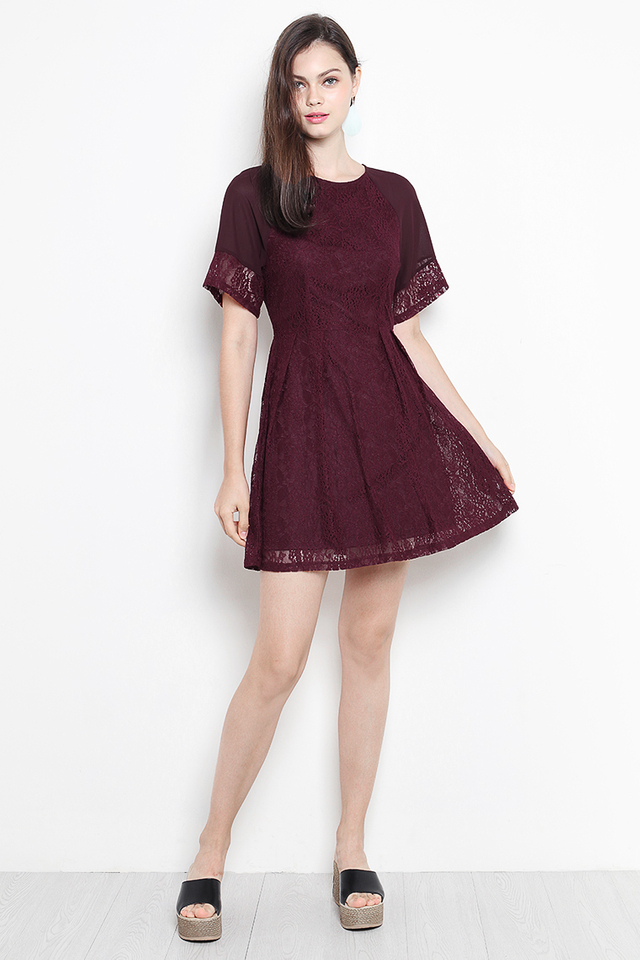 Davida Lace Dress Wine