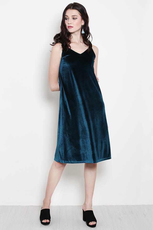 Keara Velvet Dress Forest