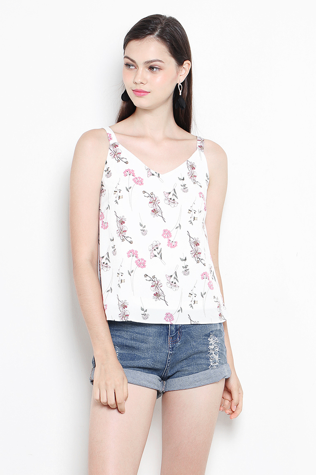 Carin Top White Floral