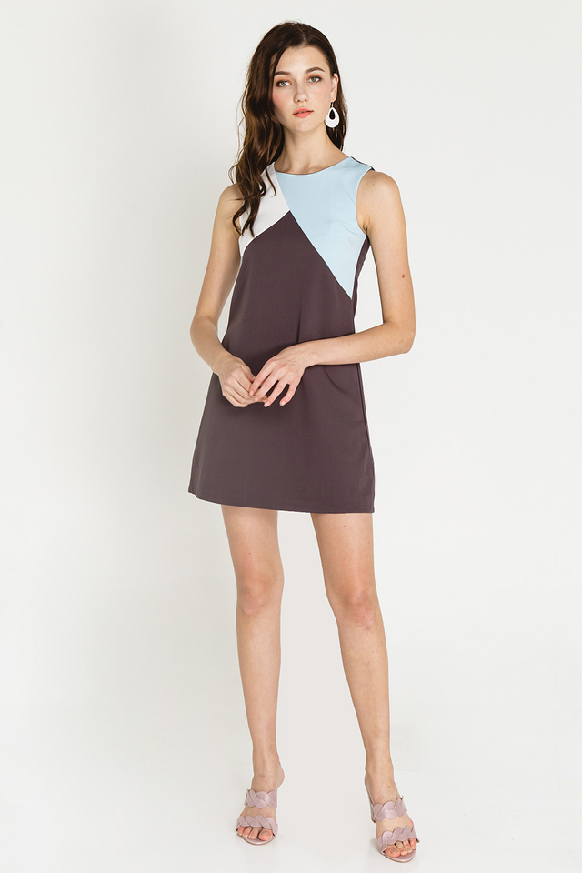 Rumer Colourblock Dress Grey