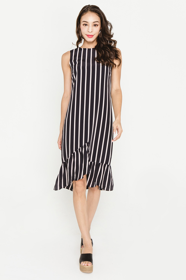 Kendall Dress Black Stripes