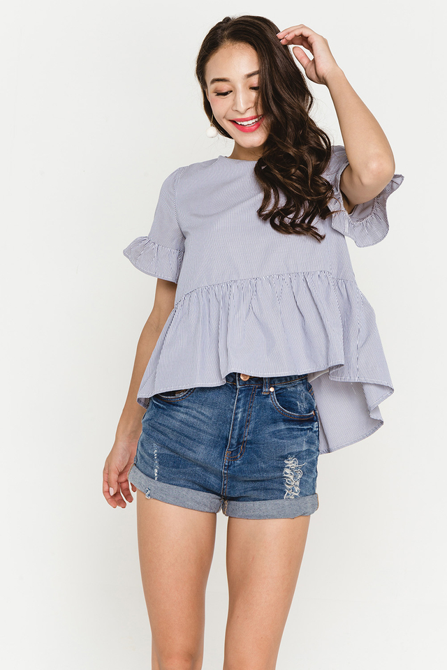 Elida Top Grey Stripes