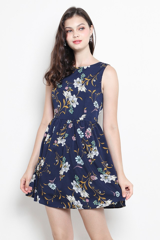 Perrie Dress Navy Floral