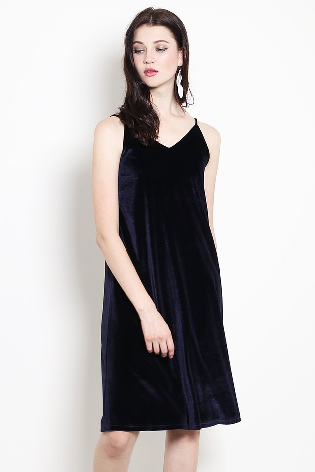 Keara Velvet Dress Navy