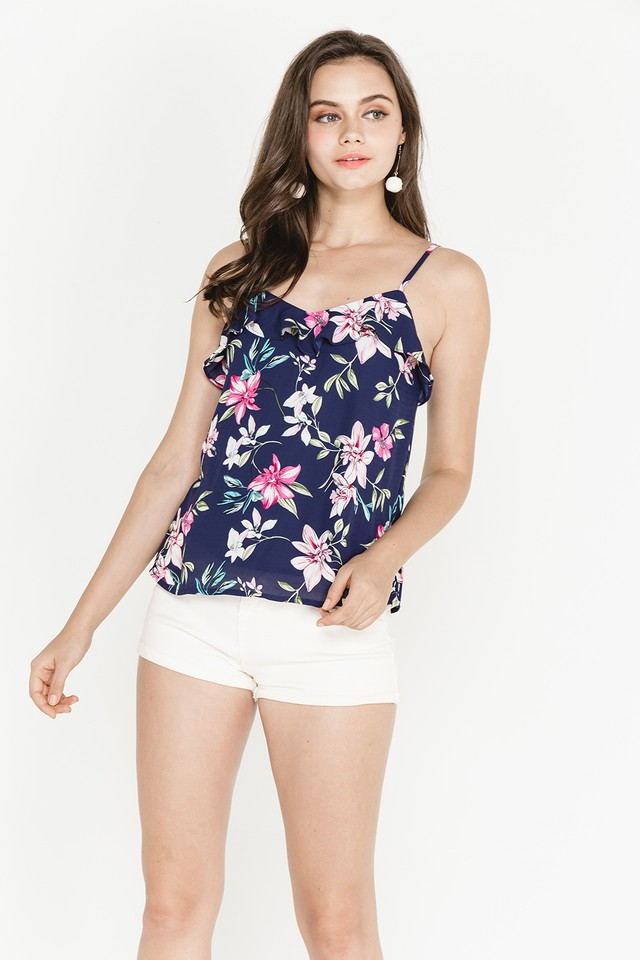 Joni Top Navy Floral