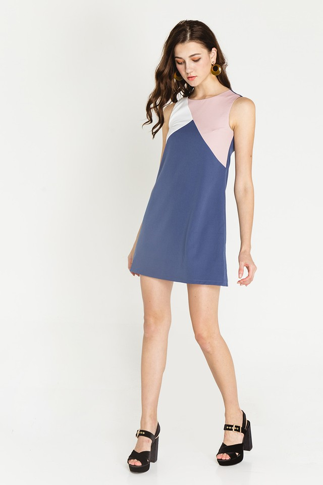 Rumer Colourblock Dress Ash Blue/Pink/White