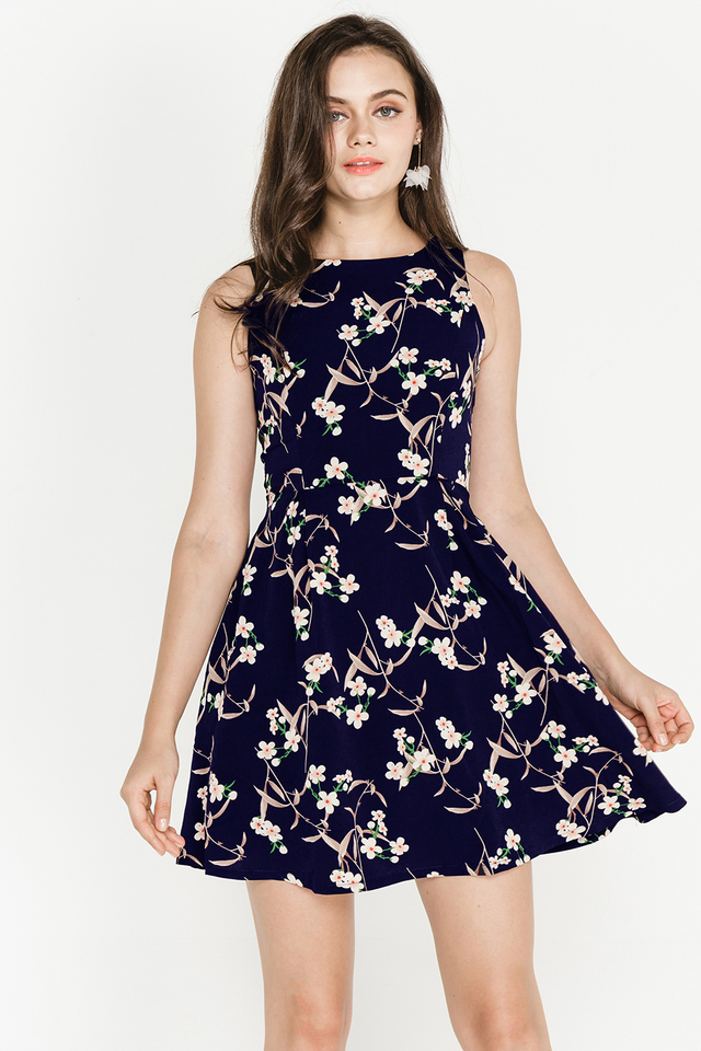 Bronwen Dress Navy Floral