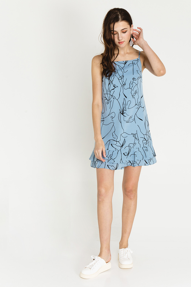 Margery Dress Blue Graphic