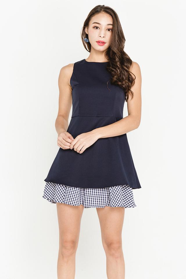 Lidia Dress Navy Gingham