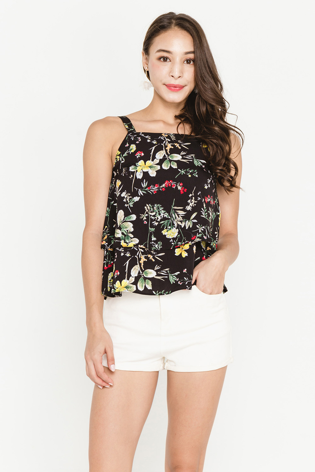 Vonda Top Black Floral