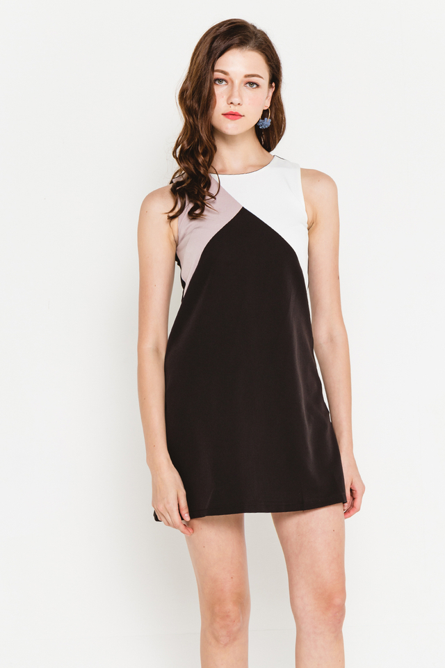 Rumer Colourblock Dress Black