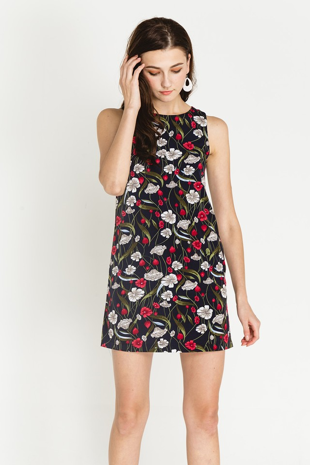 Lenore Dress Navy Floral