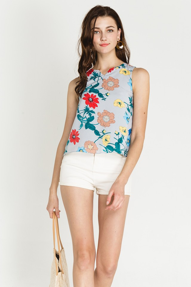 Anisa Top Mint Floral