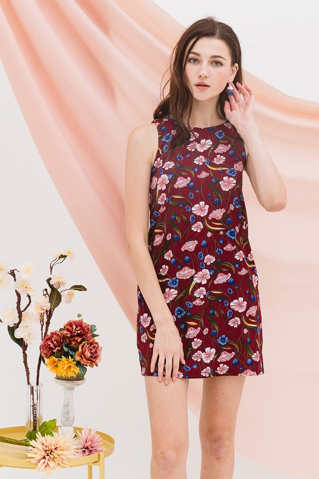 Lenore Dress Maroon Floral