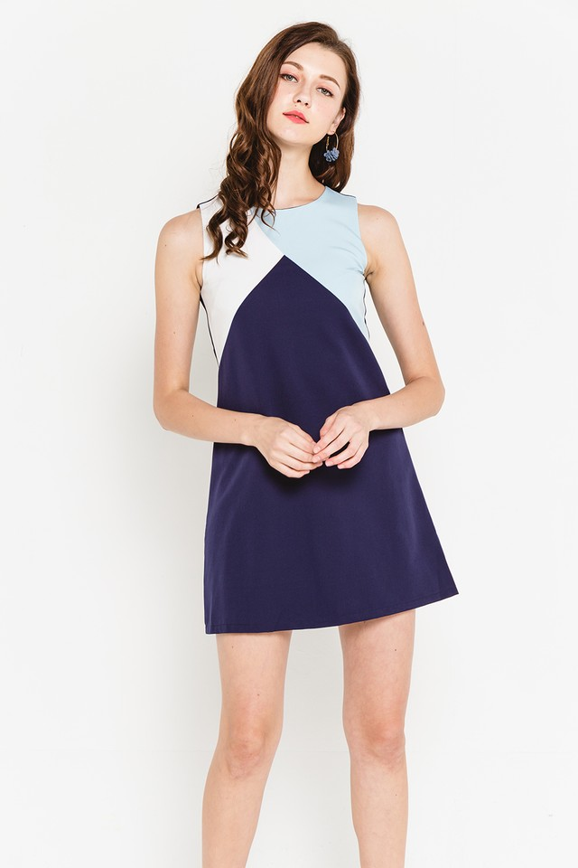 Rumer Colourblock Dress Navy