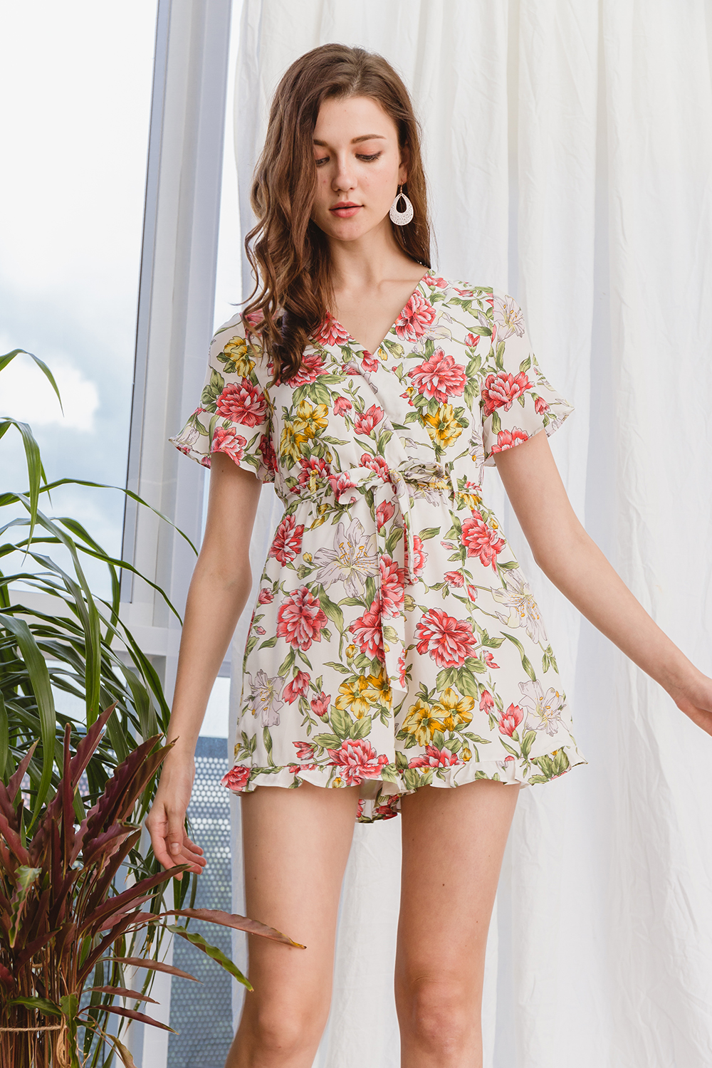 big discount of 2019 uk availability store Lorettaa Playsuit White Floral