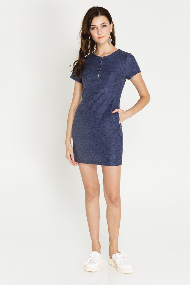 Arizona Dress Navy Tweed