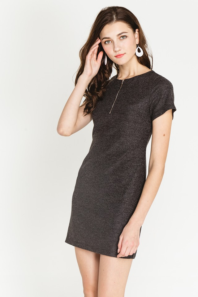 Arizona Dress Black Tweed