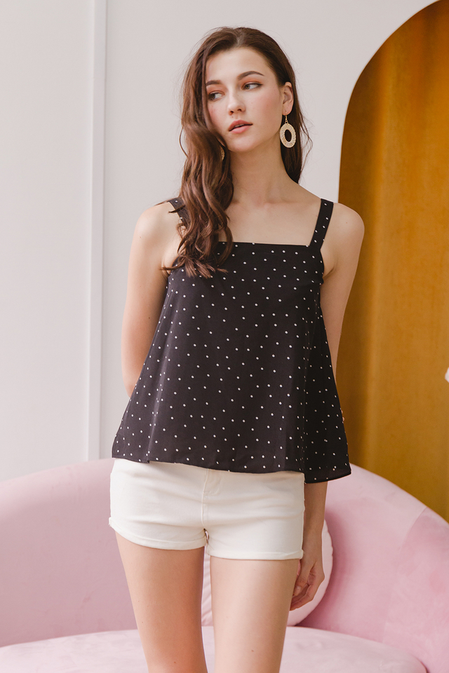 Chenille Top Black Polka
