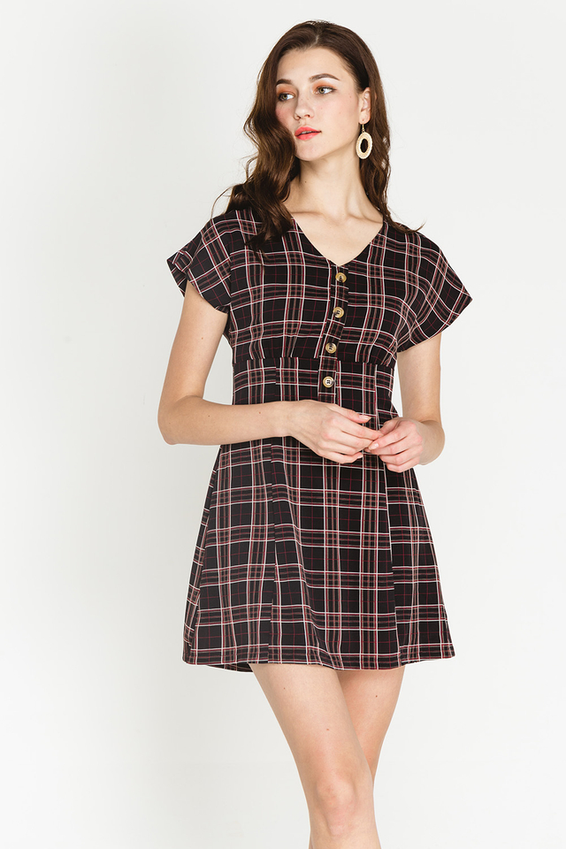 Katelynn Dress Black Checks