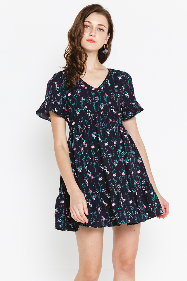 Taddie Dress Navy Floral