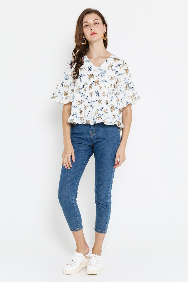 Heather Top White Floral